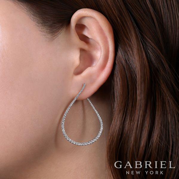 14k White Gold 45mm Intricate Pear Shaped Diamond Hoop Earrings