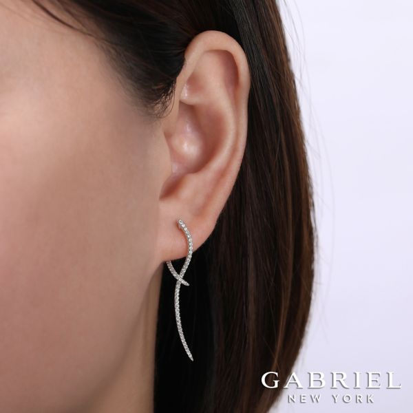 14k White Gold Drop Classic Hinge Earrings angle