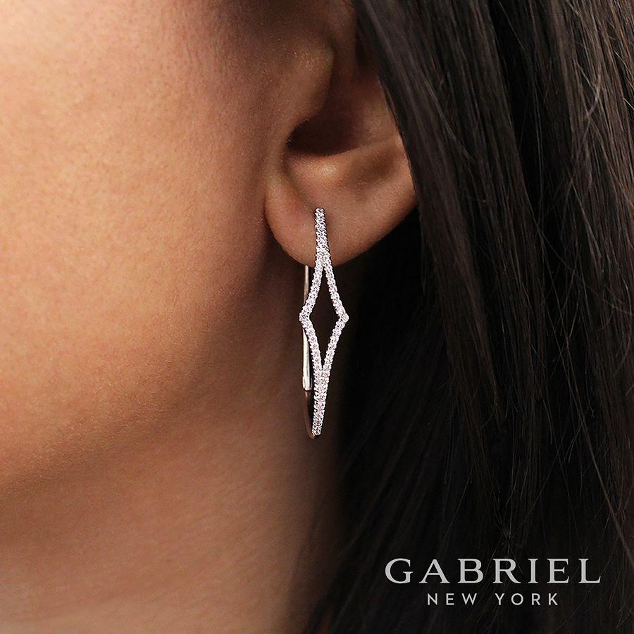 14K White Gold 35mm Diamond Hoop Earrings