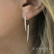 14k White Gold Tapered Diamond Threader Drop Earrings angle