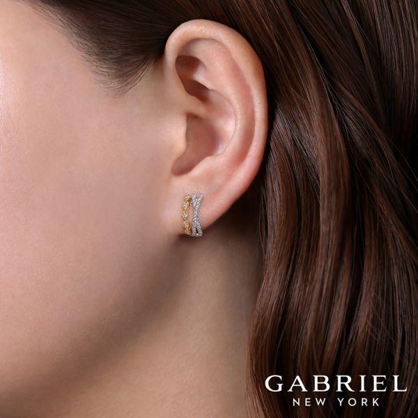 14k Yellow/White Gold Criss Cross 10mm Diamond Huggie Earrings