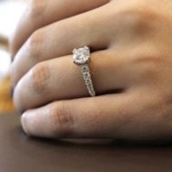 Bella 18k White And Rose Gold Round Straight Engagement Ring angle