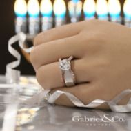 Willa 18k White And Rose Gold Round Straight Engagement Ring angle