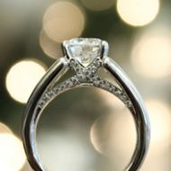 Shauna 18k White Gold Round Straight Engagement Ring angle