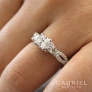 14K White Gold Engagement Ring angle