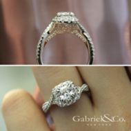 Vanessa 14k White And Rose Gold Cushion Cut Halo Engagement Ring angle