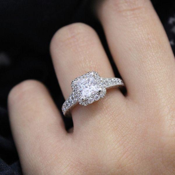 Anya 14k White And Rose Gold Princess Cut Halo Engagement Ring angle