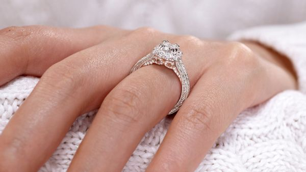 Samantha 14k White And Rose Gold Cushion Cut Halo Engagement Ring
