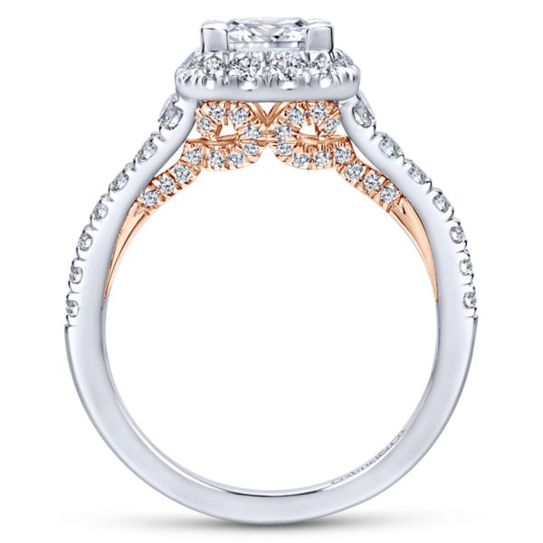 Cadence 14k White And Rose Gold Princess Cut Halo Engagement Ring
