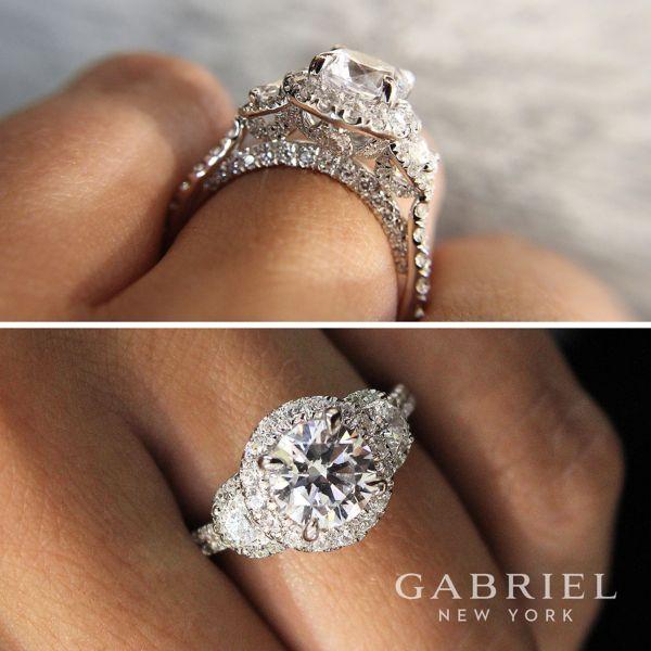 18k White Gold Round 3 Stone Halo Engagement Ring