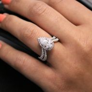 Madeleine 18k White Gold Pear Shape Halo Engagement Ring angle