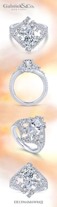 18K White Gold Marquise Shape Diamond Engagement Ring angle