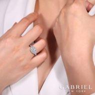 Vintage 14K White Gold Octagonal Halo Round Diamond Engagement Ring angle