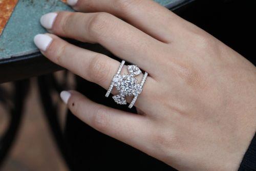 Unique 14K White Gold Three Stone Halo Engagement Ring