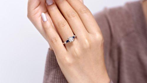 14K White Gold Round Three Stone Sapphire and Diamond Engagement Ring