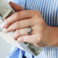 Platinum Diamond & Sapphire Eng Ring    angle