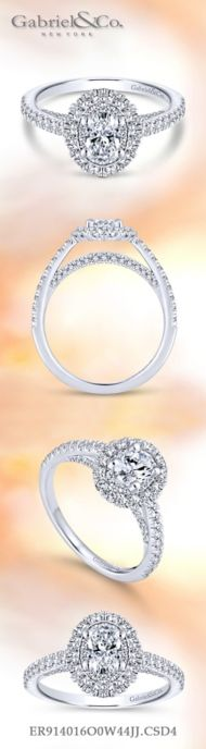 14k White Gold Oval Double Halo Engagement Ring angle