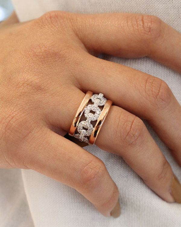 14k White/rose Gold Contemporary Fancy Anniversary Band