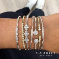 14k Yellow Gold Beaded Open Pave Diamond Bangle Bracelet angle