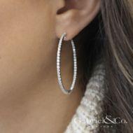 14k White Gold Hoops Classic Hoop Earrings angle
