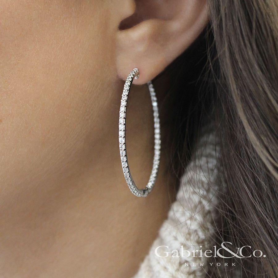 14K White Gold Prong Set 40mm Round Inside Out Diamond Hoop Earrings