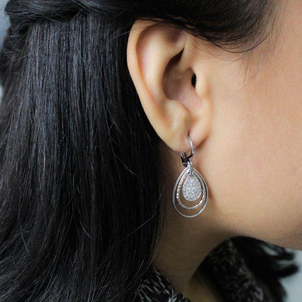 925 Sterling Silver White Sapphire Pendant Trio Earrings