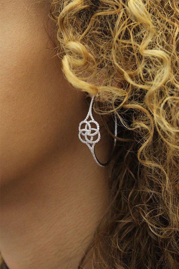 14k White Gold Hoops Intricate Hoop Earrings angle