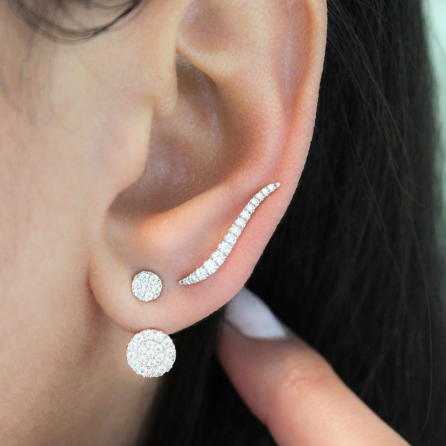14K White Gold Curving Tapered Diamond Ear Climber Earrings