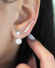 14k White Gold Kaslique Ear Climber Earrings angle