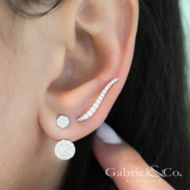 14K White Gold Curving Tapered Diamond Ear Climber Earrings angle