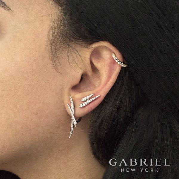 14k White Gold Criss Cross Tapered Diamond Huggie Earrings