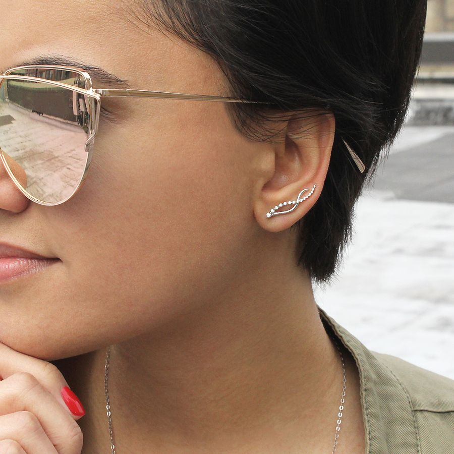 14K White Gold Twisted Diamond Ear Climber Earrings