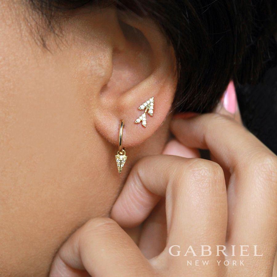 14k Yellow Gold Double Chevron Diamond Stud Earrings