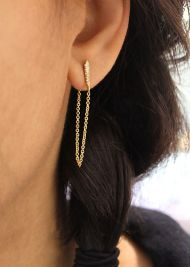 14k Yellow Gold Trends Drop Earrings angle