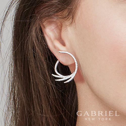 14k White Gold Intricate Diamond Fan Hoop Earrings