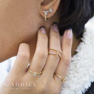 14K Yellow-White Gold Fashion Earrings angle