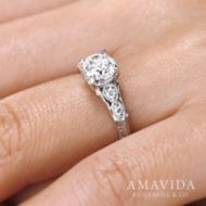 Vintage 18K White Gold Round Diamond Engagement Ring angle
