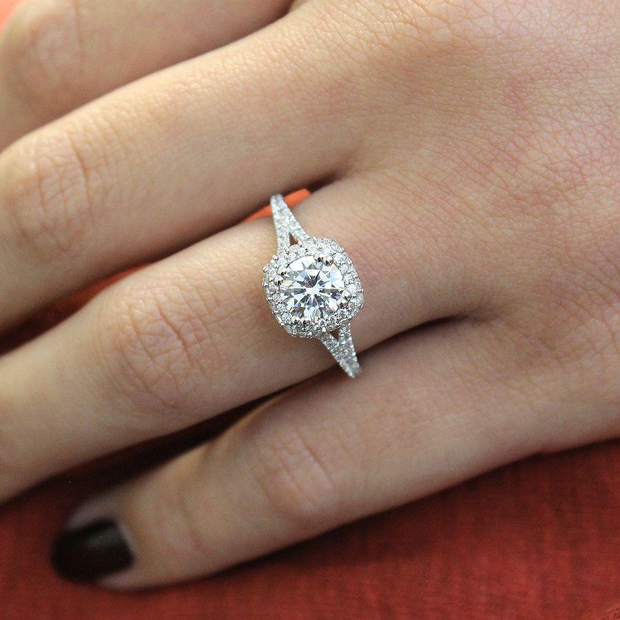 18k White-Rose Gold Cushion Double Halo Round Diamond Engagement Ring