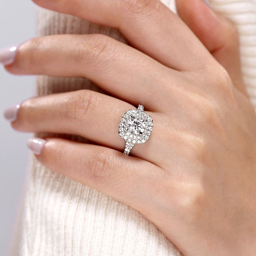 14k White Gold Cushion Double Halo Round Diamond Engagement Ring angle