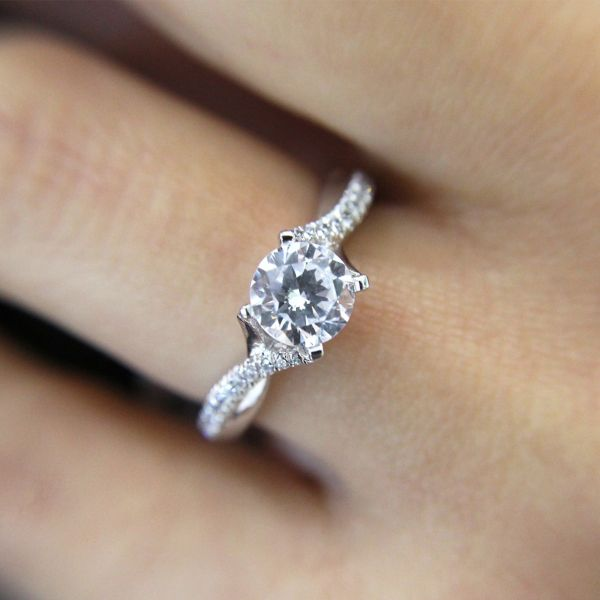 Scout 14k White Gold Round Twisted Engagement Ring angle