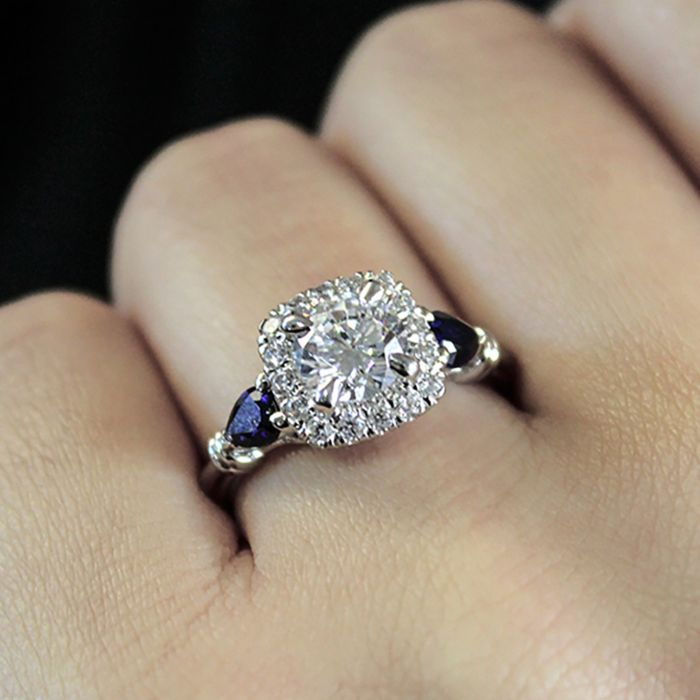 18K White Gold Cushion Three Stone Halo Round Sapphire and Diamond Engagement Ring angle