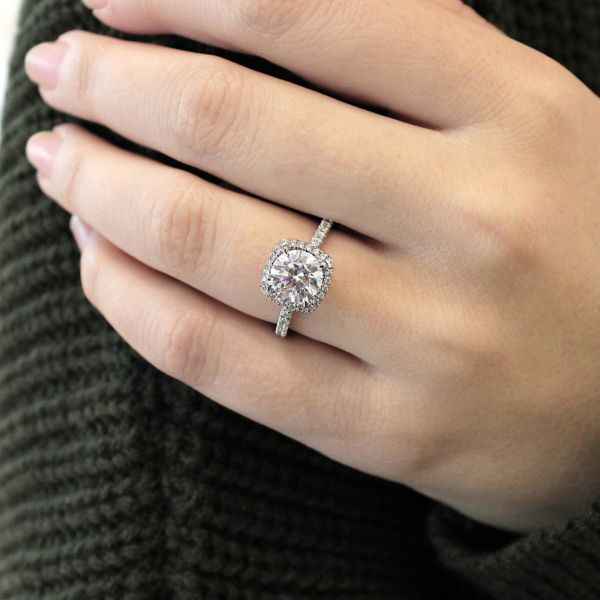 June 18k White Gold Round Halo Engagement Ring