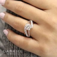 14K White-Rose Gold Diamond Engagement Ring angle