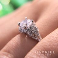 Vintage 14K White Gold Halo Diamond Engagement Ring angle