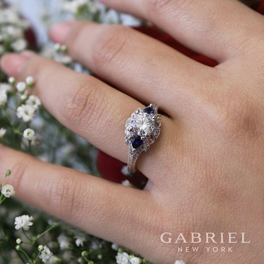 14K White Gold Round Sapphire and Diamond Engagement Ring angle