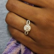 Holly 14k White Gold Round Halo Engagement Ring angle