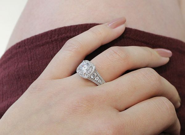 Calendula 14k White Gold Round Double Halo Engagement Ring angle
