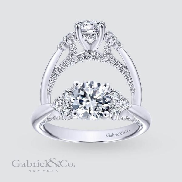 14k White Gold Round 3 Stones Engagement Ring angle