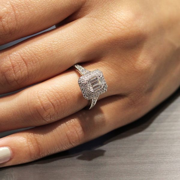jasmine 14k white gold emerald cut double halo engagement ring angle - Emerald Cut Wedding Rings