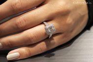 Porto 14k White Gold Princess Cut Halo Engagement Ring angle